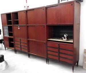 4 eccezionali mobili da ufficio anni 39 50 schirolli stile albini mogano ebay - Mobili stile anni 30 ...