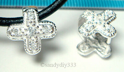 1x STERLING SILVER CZ CRYSTAL CROSS PENDANT PINCH BAIL CLASP N967