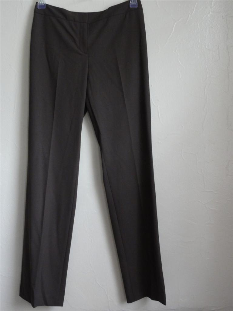 ELIE TAHARI THEORA STRAGHT CASUAL PANTS, Brown (Briar), Size 4, MSRP