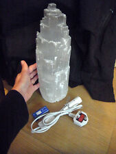 Beautiful SNOW MOUNTAIN HEALING SELENITE CRYSTAL LAMP 3.2kg 30cm RELAX HEALING