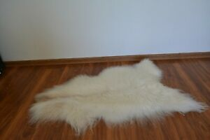 Genuine IcelandSheepskin rug size 110x55cm Natural white some brown A3
