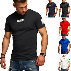 Jack-amp-Jones-T-Shirt-Hommes-O-Neck-Print-Shirt-Manches-Courtes-Shirt-Basic-Chemise-Casual