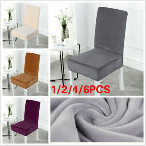 Details about 1pc Dining Room Chair Covers Stretch Velvet Seat Slipcovers  Home Decor US