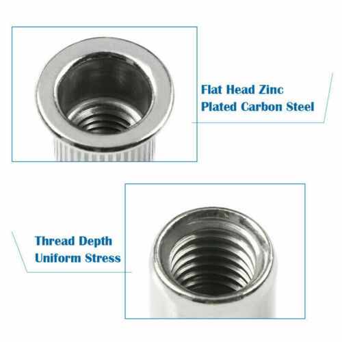 50//20pcs Thread Stainless Steel Flat Head Rivet Nut Kit Rivnut Insert Nutsert