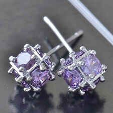 New Brilliant 9K White Gold Filled Purple CZ Womens Megic Ball Stud earing