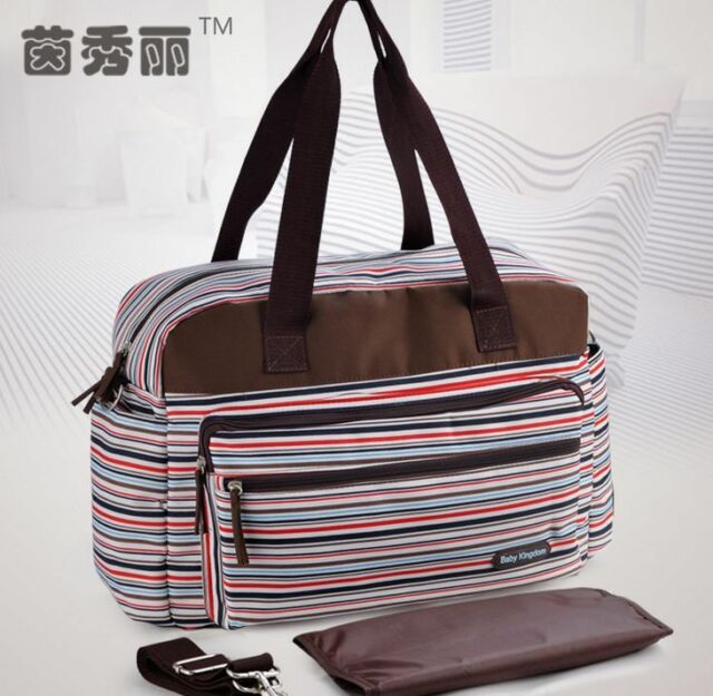 New Stripe 3PCS Baby Changing Diaper Nappy Mummy Bag Shoulder Bag Handbag Large