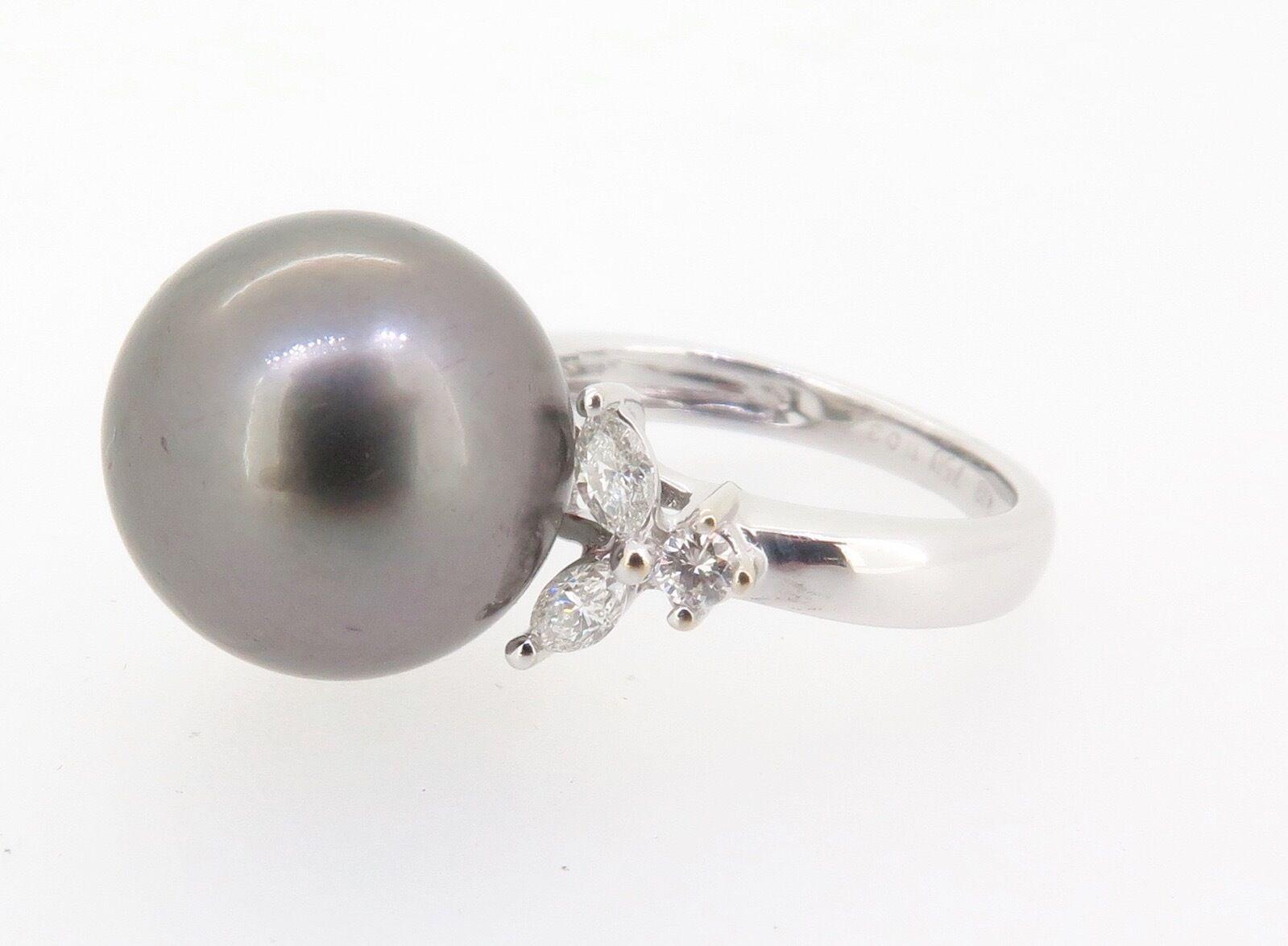 .A STUNNING TAHITIAN CULTURED PEARL & DIAMOND SET DRESS RING VAL  3810