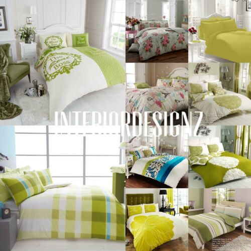 NEW Green Collection Various Modern Designs Printed Bedding Duvet Set All Sizes