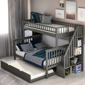 Twin Over Full Stairway Bunk Bed With Trundle Stairs And Guardrail In Gray Usa Ebay