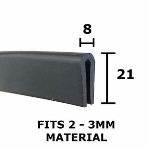 Large-Rubber-U-Channel-Edging-Trim-Seal-21mm-x-8mm-Fits-2mm-3mm-The-Metal-House