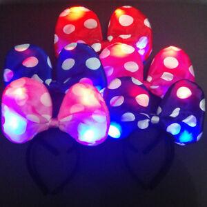 Led Light Up Minnie Mouse Ears Polka Dot Bow Headband Party Favor