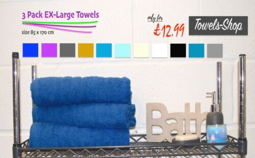 3 Pack Jumbo Bath Sheets Towels100/% Egyptian Cotton11 ColoursWow Price!