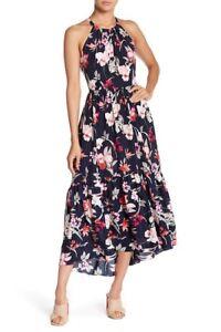 Eliza J Halter Floral Print Hi-Lo Dress