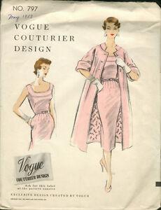 2770486922fd Image is loading 1954-Vintage-VOGUE-Sewing-Pattern-B34-DRESS-amp-