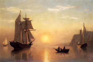 Oil-painting-seascape-sail-boats-and-canoes-on-the-ocean-in-sunset-landscape