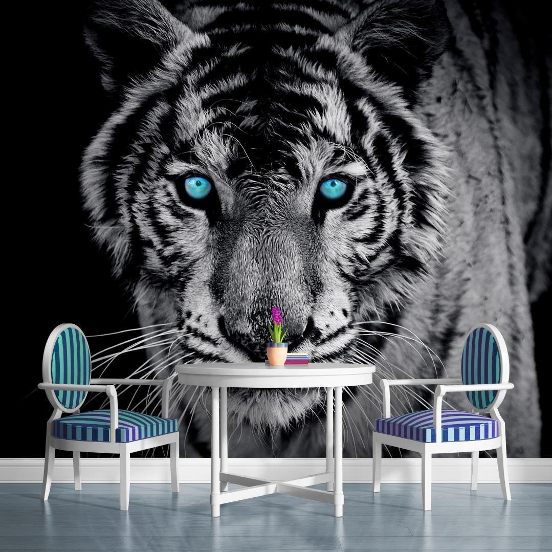 Vlies Fototapete Fototapeten Tapeten Tapete  Wandbild Tiger Blau 153VE