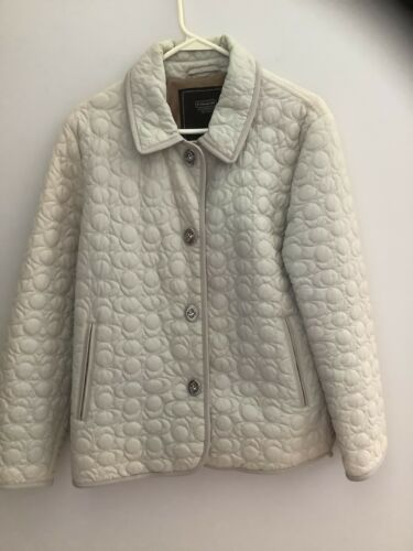 Beautiful Coach Quilted Jacket With Leather Trim N