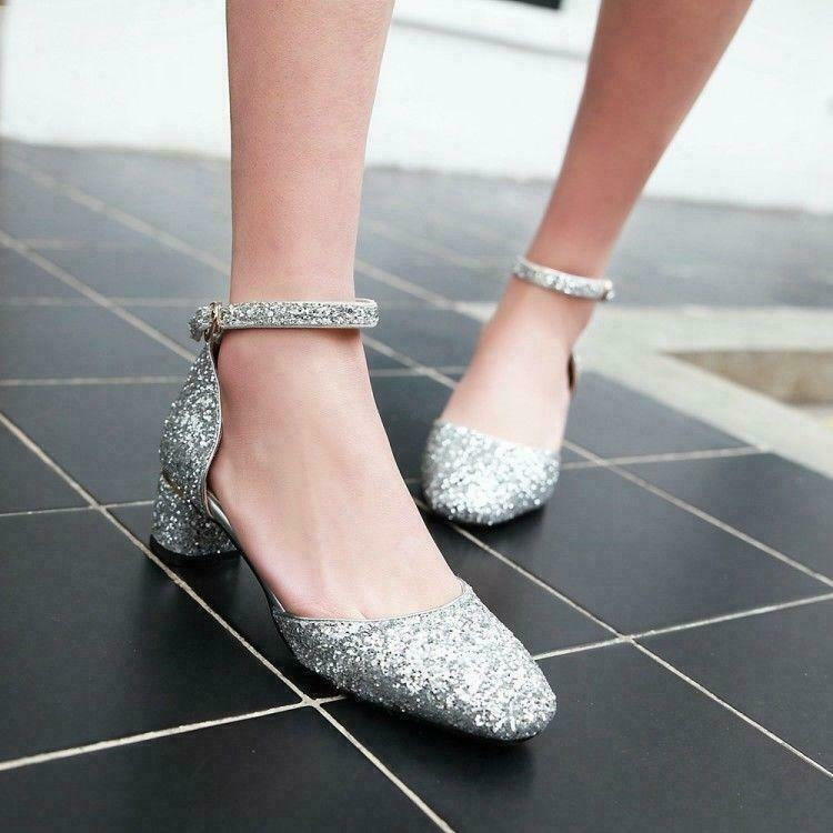 Womens Party Dress Mary Jane Sandals Sequins Ankle Strap Block Heel shoes b88