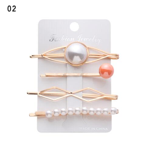 Metal Women Geometric Irregular Hairpins Hair Clips Pearl Hairgrips Barrettes