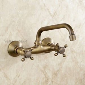 Antique Wall Mounted Dual Cross Handle Swivel Spout Kitchen Sink