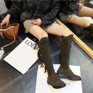 Chic Women Low Cuban Heel Winter Warm Knee High Boots Buckle Sweet Suede Fashion