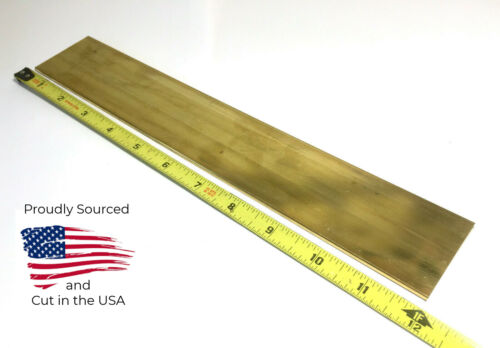"USA 1//8/"" x 2/"" C360 BRASS FLAT BAR 12/"" long Solid .125/"" Plate Mill Stock H02"