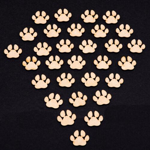 Cat Dog Animal Paws Print Embellishments Craft MDF 30 x Wooden Paw Shapes