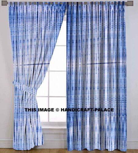 Indian Tie Dye Blue Shibori Cotton Hippie Door Cutain Decor Window Curtains 2 PC