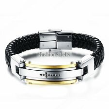 Black Leather Braided Stainless Steel CZ Cross Men's Heavy Bracelet Wristband