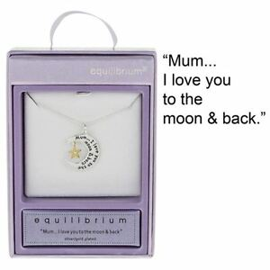 Equilibrium-Silver-Plated-Necklace-034-Mum-I-love-you-to-the-moon-amp-back-034