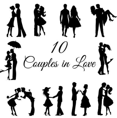 Fiançailles mariages St-Valentin Die Cut Outs Silhouette couples X 10 Romance