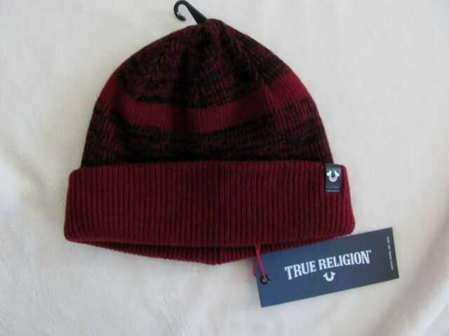 aee12f6e8a321 True Religion Men s Oxblood Red Cashmere Blend Short Knit Beanie Cap ...
