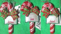 Ornament, Personal Name - Jamie Jan Janet - 3d Candy Cane Bow Christmas Town Joy