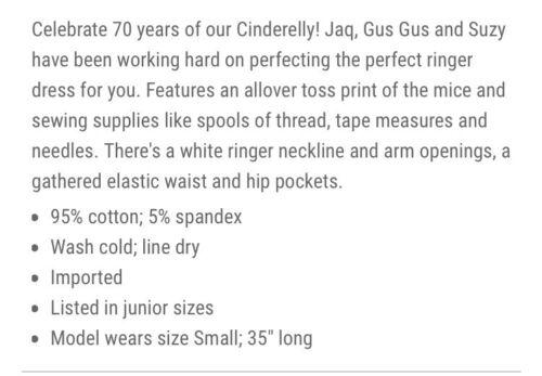 DISNEY CINDERELLA RINGER DRESS HER UNIVERSE GUS GUS JAQ /& SUZY XL 2X