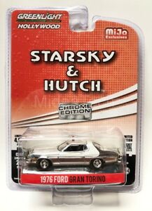 Greenlight-034-Starsky-amp-Hutch-034-1976-Ford-Gran-Torino-1-64-Chrome-Chase-Car-51224