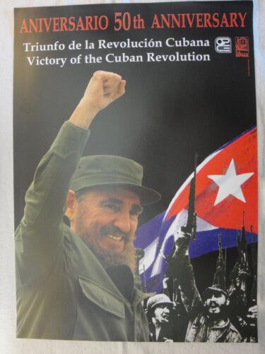 "Fidel Castro CUBAN 50th anniversary revolution political poster 19x27/"" OSPAAAL"