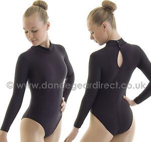 9c754084f049 Ladies Polo Turtle Neck Ballet Dance Leotard Long Sleeve Black Shiny ...