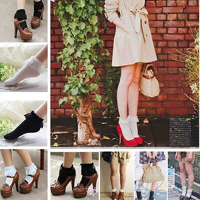 Women's Vintage Lace Ruffle Frilly Ankle Casual Princess Pure Color Short Socks