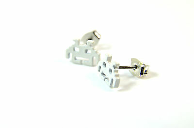 RETRO COOL GAMER PACMAN STYLE WHITE EARRINGS CUTE GAMER UNIQUE (A26)