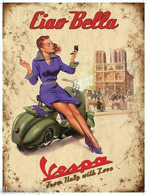 Vintage Vespa Poster Canvas Multi Size Wall Art Print Motor Scooter Bike Girl Ebay