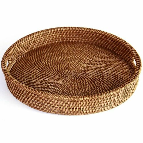 Details about  /13.5inch Rattan Tray With Handle Woven Multipurpose Durable Round Wicker Tray