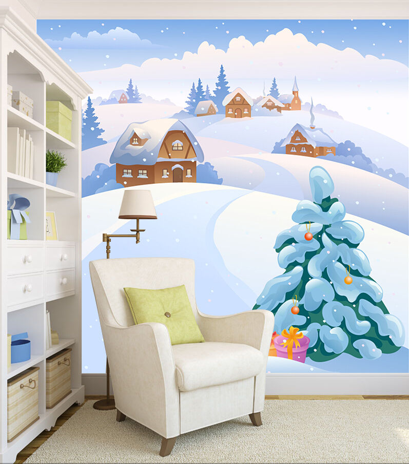 Mega 3D Snow Pines 015 Wall Paper Wall Print Decal Decal Decal Wall Deco Indoor Wall 7025f7