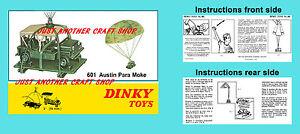 Dinky-Toys-601-Austin-para-Moke-militar-Folleto-de-instrucciones-Cartel-Anuncio-Cartel