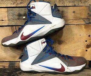 Nike Lebron 12 Nike iD Blue Red White Metallic Men's Size 13 US 728709-981