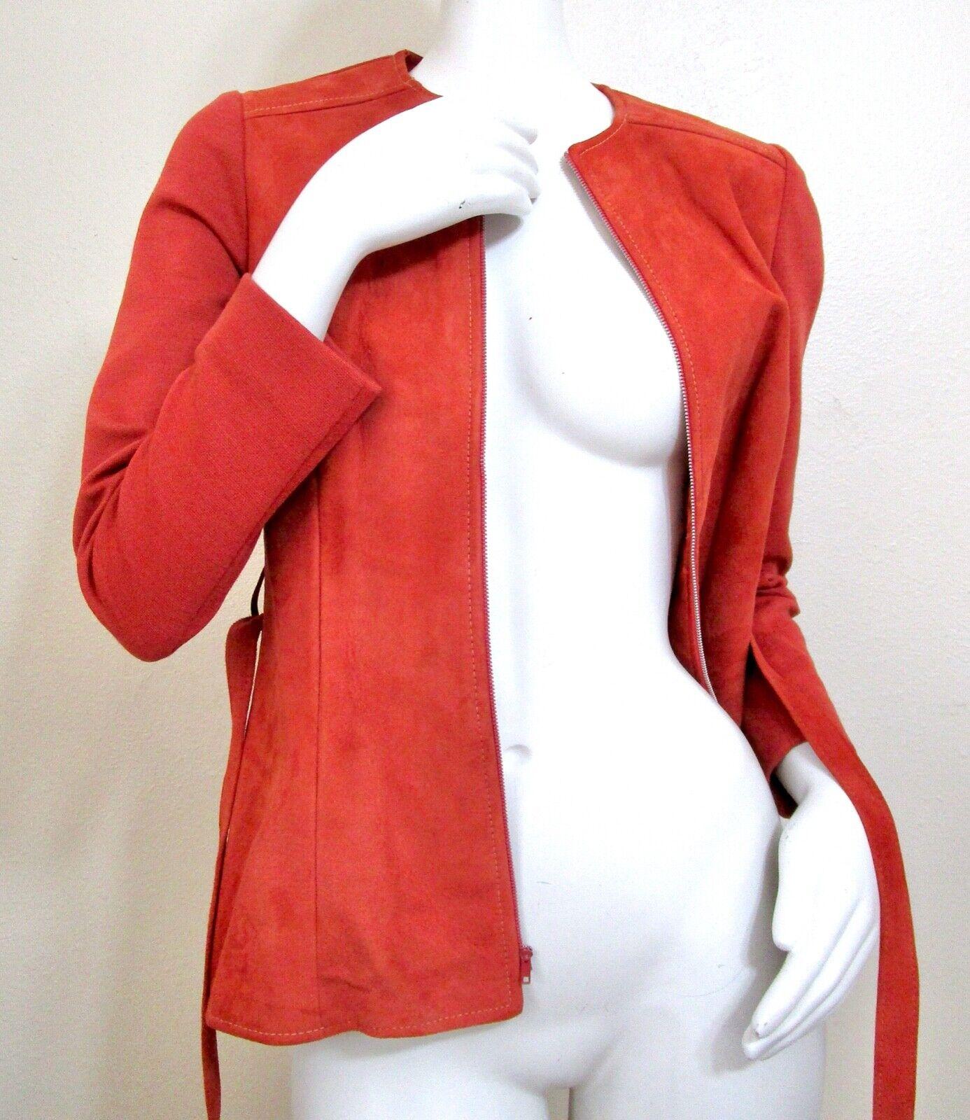 Vintage 70s Mod Orange PSI Leather Process Suede … - image 3