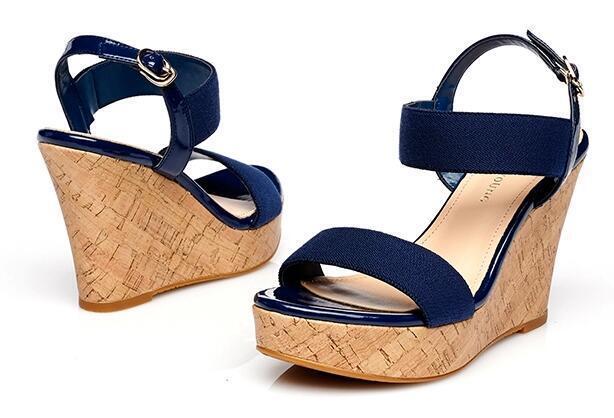 Sandalias de mujer abierto azul oro cuña plataforma 10 cm elegante y cómodo 8049