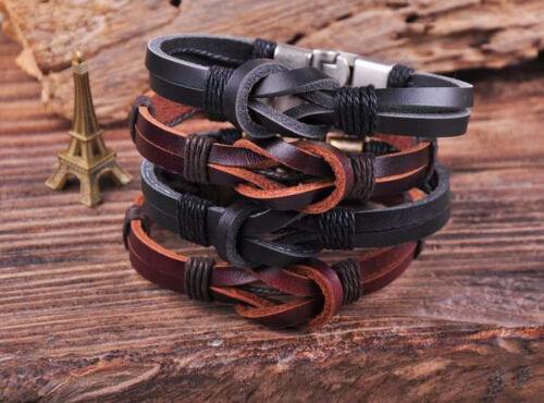 S510 Retro Classic Genuine Leather Braided Bracelet Wristband Men/'s Cuff B/&K 2PC