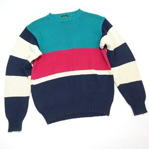 Vintage-Izod-Color-Block-Sweater-Womens-M-Cotton-Knit-Crewneck-Teal-Navy-Magenta