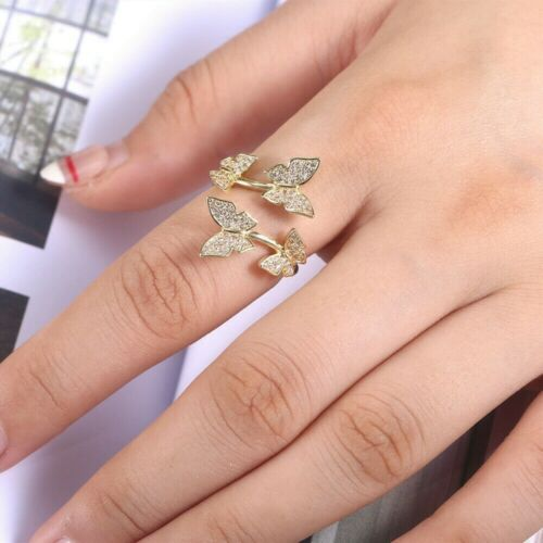 Elegant Women Adjustable Crystal Butterfly Cocktail Open Ring 925 Silver Jewelry