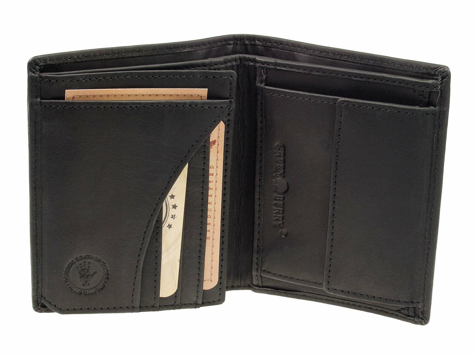 Greenburry Vintage Leder Geldbörse RFID Schutz Schwarz Portemonnaie Geldbeutel